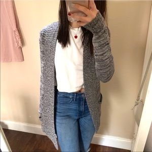 Grey Longline Knit Cardigan